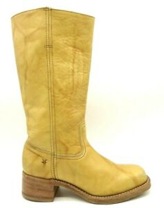 Frye Logo USA Campus Marbled Banana Yellow Leather Tall Boots Women's 9.5 M