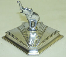 Antique Art Deco 1930s Weidlich Silver Plate Elephant Powder Box Compact Figural