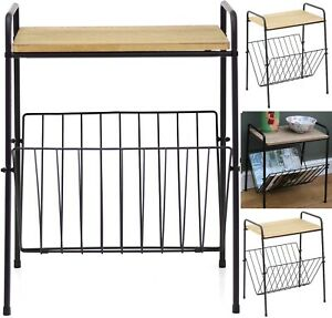 Retro Magazine Rack Side Table Metal Wire Wooden Top Effect Storage Home Decor