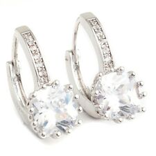 Trendy Clear Cubic Zircon White Gold Plated Lady Jewelry Hoop Earrings For Party