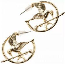 BRAND NEW HUNGER GAMES MOCKING BIRD LOGO GOLD EARRINGS WOMENS LICENSED HOOP