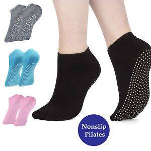 Yoga Socks Non Slip 100% Cotton Full Toe with Grips Exercise Gym 4 Colors Ballet
