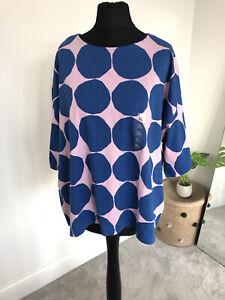 BNWT Marimekko X Uniqlo Spots T Shirt XL UK 16 Oversized Blue & Pink Boxy Top