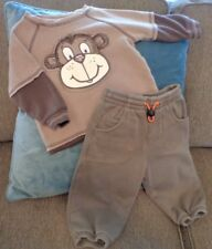 Baby Boy 6-12m Monkey Brown Layered Sweatshirt & Pants 2pc Koala/Gymboree Fall