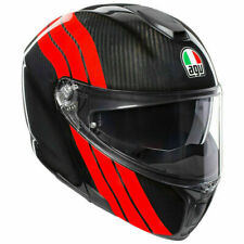 CASCO MODULARE AGV SPORTMODULAR STRIPES CARBON - RED  TAGLIA L