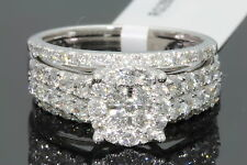 10K WHITE GOLD 1.93 CARAT WOMENS REAL DIAMOND ENGAGEMENT RING WEDDING BANDS SET