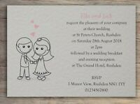 50 Wedding Invitations Day Evening Invites Personalised with Envelopes