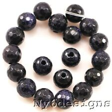"""10x10mm Blue Gold Stone Faceted Round Beads Big Hole 7"""" (GS29)a for DIY Jewelry"""