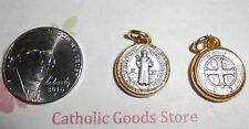 SAN BENITO Medalla / SAINT Benedict Cross SILVER/GOLD Tone- Small -Made in Italy