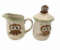 Vintage  MCM Lorrie Design Owl Sugar and Cream Set  Stoneware Made in Japan