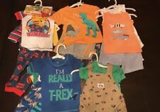 Infant Baby Boys 12 Clothing Sets & Pajamas Tiger, Dinasour, Fish Clothing Lot