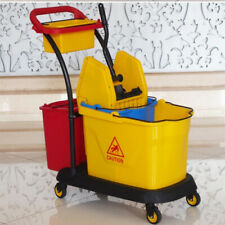 12 Gallon Double Mop Bucket with Wringer Combo Commercial Rolling Cleaning Cart
