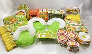 Vtg Zee Toys Puff n Play Inflatable Furniture Barbie Doll Mod Kitchen Bedroom