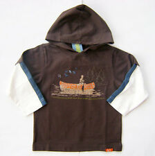 GYMBOREE Camp Scout Swift River Canoes Brown Hooded Cotton Tee Shirt Boys 4 NEW