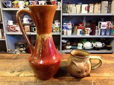 "BRT Groovy Retro Ceramic Abstract Drip Glaze Pottery Jug / Vase 10"""