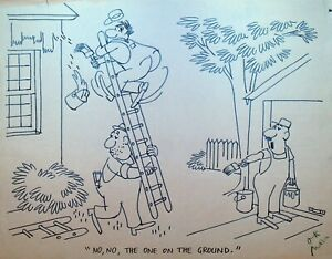 Painting Contractor Ladder Construction Gag Cartoon Original Art Painter