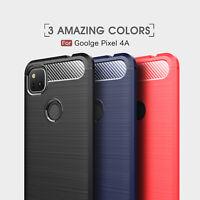For Google Pixel 4a/ 4a 5G Shockproof Armor Carbon Fiber Hybrid Brush Case Cover
