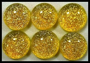 Lot of 6 TWINKLE SUNSHINE YELLOW Fused Glass DICHROIC Cabochons NO HOLE Beads