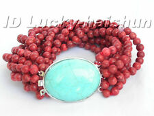 100% natural 10row red sponge coral Bracelet turquoise j5204