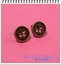 Funky Vintage Brass Button Earrings Cute Kitsch Retro Boho Chic Sewing Xmas Gift