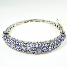 "Sterling Silver TANZANITE  BANGLE BRACELET 7.5 ""  Over 10 ctw"