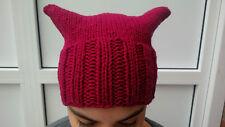 Mütze Pussyhat Protest USA dunkles pink aus Bio-Wolle vom Finkhof (kbT)