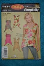 #4218 Simplicity so Easy Knit Sewing Pattern Peak Hem Tops Size 10-22 New-