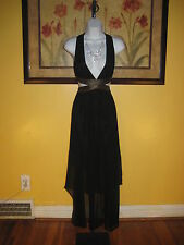 NWT  Arden B. $139 Deep-V Chiffon Hi-Lo Maxi Dress Size S