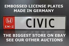 Honda EM-2 Civic Logo Euro European License Plate Number Plate Embossed Alu