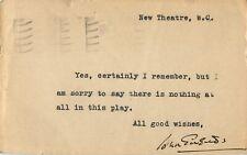 More details for vintage signed autograph note - uk actor - john gielgud