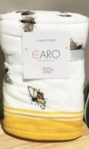 SET of  New Farmhouse CARO HOME Soft Cotton Hand Towels Bumblebee White/Yellow