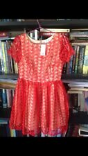 Candy Heart Lace Womens Dress 10 Red Beige Skin Colour NEW BNWT Short Sleeve