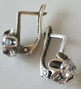 Typical Russia SILVER EARRINGS LEVERBACK Clear CRYSTAL HALLMARKED 925