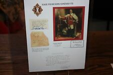 COA Authentic and Certified King Edward VII 7th Hair Sample Piece Memorabilia