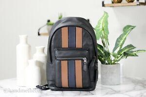 Coach 3180 Men's West Pack Brown Varsity Stripe Pebble Leather Crossbody Bag