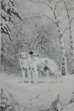 MARGUERITE KIRMSE-CT Realist-Hand Signed LIM.ED. Etching-Russian Wolf Hounds