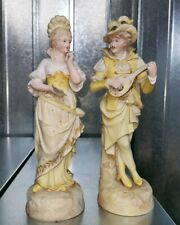 Pair Continental 19th Century Figurines Hand Painted bisque Dresden lady Man