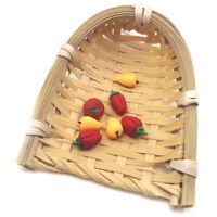 Mini Cute Dollhouse Rattan Frame Hand-woven Basket Dolls Miniature Decorat.AU