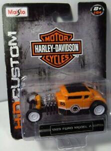 Maisto 1929 29 Ford Model A Rat Hot Rod Orange Harley Davidson Motorcycles 2015