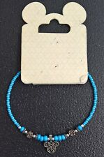Disney Light Blue Beaded Bracelet with Mickey Head & Roses