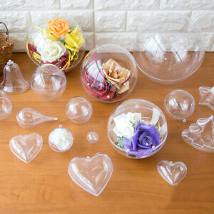 100x Clear Plastic Christmas Balls Baubles Sphere Fillable Tree Ornament Wedding