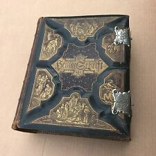 Antique 1882 German Family Holy Bible Illustrated Leather Bound Gothic Latches