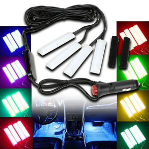 4X LED White Tube Foot light Wireless Bluetooth Control Cigarettes RGB MSS J2
