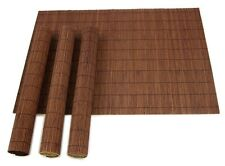Set Of 4 Brown Bamboo Placemats Rectangle Dining Table Place Settings Mat Sushi