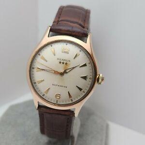 Vintage BENRUS #7155 Men's automatic watch DO 13 17Jewels swiss 1950s