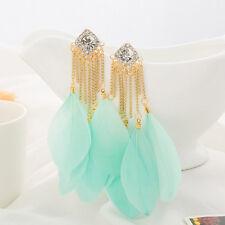 """New Feather Earrings Gold Light Mint Green Women 4""""  Shoulder Dusters"""