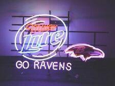 """New Miller Lite Baltimore Ravens Go Ravens Beer Neon Light Sign 24""""x20"""""""