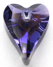 Swarovski Pendentif coeur sauvage 6240, custom enduits glacial tanzanites violet, 12 mm