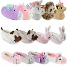 160d79a7dc43 Kids Girls Slippers 3D Novelty Plush Animal Unicorn Bunny Warm Cosy Fluffy  Gift