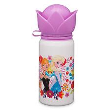 2015 Disney Store Frozen Elsa Anna White Water Bottle Flip-Top Aluminum Cup NEW!
